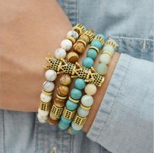 Gorgeous Men Micro Pave CZ Crown Charm Bracelet Trend Matte Agate Bead Jewelry