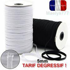 Elastique blanc ou noir  plat 5mm  fabrication  masque tissus couture  5/20/50M
