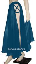 Dark Teal - TMS 2 Side Slit Panel Full Circle Skirt Belly Dance Tribal - 25Color
