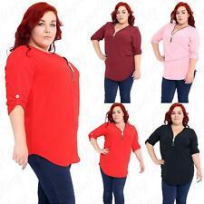 Womens Ladies Crepe Fabric Curved Hem Zip Up V Neck Plain Top T Shirt 14-28