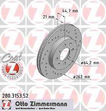 Disque de frein avant ZIMMERMANN PERCE 280.3153.52 MG MG ZS Hatchback 120 117ch