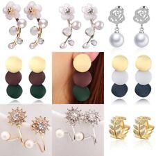 Women Crystal Rhinestone Flower Snowflake Round Pearl Ear Stud Earrings Jewelry