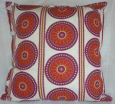 "Cushion Cover retro White circles print 100% cotton zipped 18"" & 16"" -  FREE p&p"