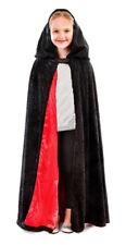 Kids Noir Cape capuche doublé garçon fille tudor médiéval costume déguisement