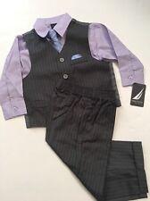 Nautica Boys Charcoal Grey Purple 4 piece Vest Suit Size 2T 3T 4T 5 Wedding