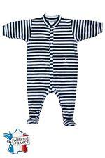 Pyjama velours de 1 mois à 2 ans NEUF Ref.rayé marine et blanc