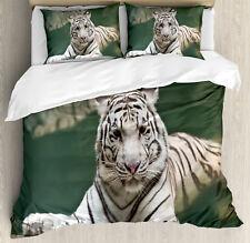 Tiger Duvet Cover Set with Pillow Shams White Tiger Swimming Fun Print