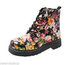 T.U.K. T2250 Tuk Ladies Floral 7 Eyelets Combat Boots Anarchic Flowers Vegan