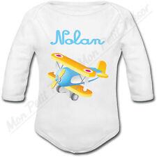 Body Bébé Avion Jouet avec prénom ou texte personnalisé