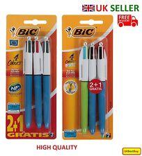 New 3 Bic 4 Multi Colour Ballpoint Pens - UK SELLER