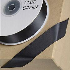 BLACK DOUBLE SIDED SATIN RIBBON 25M REEL WEDDING CRAFT GIFT WRAP