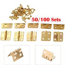 50/100 Small Mini Brass Hinge For Miniature Furniture Jewelry Cigar Box 17x18mm