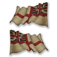2 X Agitando Bandera Británica naval Pegatina de vinilo Laptop Viaje Equipaje Coche #6666