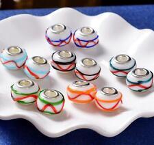 New Beautiful Striped European Style Lampwork Glass Beads fit Charm DIY Bracelet