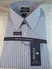 NWT STAFFORD PERFORMANCE SUPER  DRESS SHIRT LONG SLEEVE BLUE STRIPED Reg. Fit