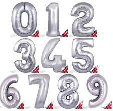 "SILVER 30"" JUMBO HELIUM NUMBER SUPER SHAPE FOIL BALLOON 0 - 9"