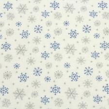 Jersey Stoff Gemustert Schneeflocken Winter Meterware 100 % Baumwolle