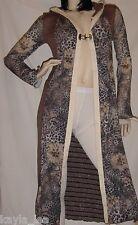 Animal/Stripe Sweater Long Shrug/Cover Cardi-Coat Hood