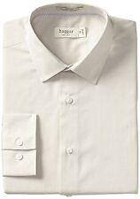 Haggar Men's Fitted Stretch Long Sleeve Dress Shirt Light Beige 16-34/35