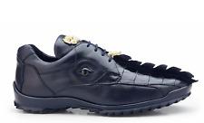Belvedere Mens Vasco Shoes Hornback Crocodile Soft Calf sneaker Blue Dark 336122