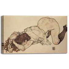 Schiele ragazza in ginocchio quadro stampa tela dipinto telaio arredo casa
