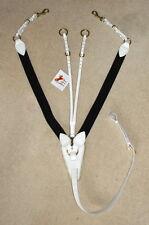 FSS Leather Elastic V CHECK 3 POINT Soft Sheepskin POSH Breastplate WHITE CREAM