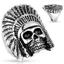 Tribal Chief Skull Biker Casting Stainless Steel Band Mens Ring
