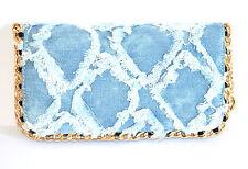 BORSELLO portafoglio donna blu jeans oro dorato catena ragazza borsa clutch 1310