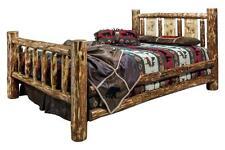 KING Log Bed Woodburning Laser Engraved Design Amish Made Rustic Lodge Beds
