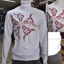 Tshirt A Punta A V Nooky Uomo In Cotone Manica Lunga Stretch Bianco Taglia L