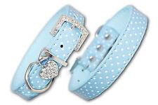 PU Leather Dog Collar Diamante Coller Pet Blue Puppy Small Medium Large Spotty