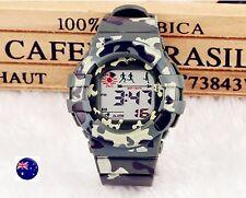 Boy Girl Camouflage Camo Army Military Digital LED Sport Lighting Wrist Watches