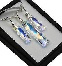 925 Collar De Plata/Set * CRISTAL AB * Reina Baguette Cristales de Swarovski ®