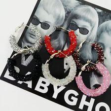 Women Sparkly Crystal Dangle Large Circle Hoop Earrings Girls Nightclub Jewelry