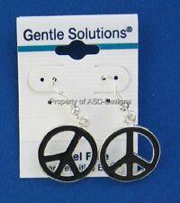 1pr Peace Sign Symbol Black Enamel Earwire Earring 5316