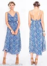 """NEW Sugar Lips Blue Print """"Tried and True"""" Midi Maxi Dress Exposed Back XS S M L"""