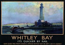 TU7 Vintage 1930's Whitley Bay trasporto ferroviario POSTER re-print A3 / A2