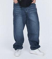 Mens Jeans Loose Trousers Denim Baggy Blue Stonewashed Mustache Hip-Hop W30-W44