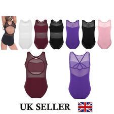 UK Girls Mesh Splice Leotards Ballet Gymnastics Unitard Bodysuit Kids Dance Wear