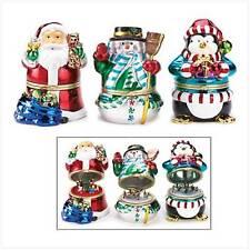 Christmas Music Box Figurines, Santa, Snowman, & Penquin