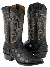 Mens Black Pirarucu Fish Print Leather Cowboy Boots J Toe Western Rodeo Riding