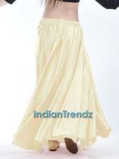 Cream - 360 Full Circle Satin Long Skirt Swing Belly Dance Costume Tribal