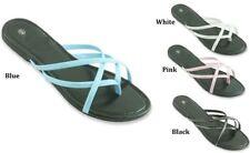 LADIES FASHION OPEN TOE FLIP FLOP SANDALS BLACK BLUE WHITE PINK 5 6 8 9