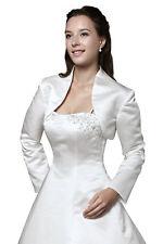 HBH Brautmoden Satin Bolero Jacke mit langen Ärmeln,Gr.34-Gr.54, Weiß oder Ivory