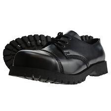 Bottes et Bretelles 3 trous Chaussures Rangers acier orteil chaussures noir