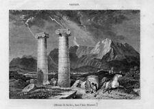 Stampa antica Colonne di SARDI Asia Minore Turchia Turkey 1845 Old Print