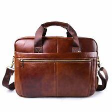 Handbag Laptop Bag Genuine Leather Business Men Crossbody Travel Brown Briefcase