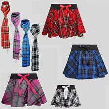 Femmes Complet Circulaire écossais Mini à Élastique Noeud jupe et écharpe