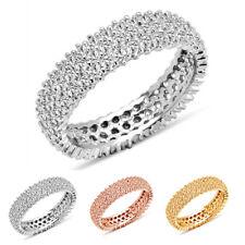 925 Sterling Silver Turkish Handmade 3 Row Eternity Ring