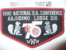 Adjudimo Lodge 210,F-8a,1990 NOAC,75th Ann OA,TR,Flap,Chief Cornstalk,416,475,WV